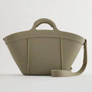 NWT Zara Khaki Green Rubberized Basket Bag